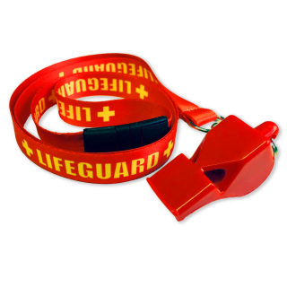 RED WHISTLE + LIFEGUARD WOVEN NECK LANYARD